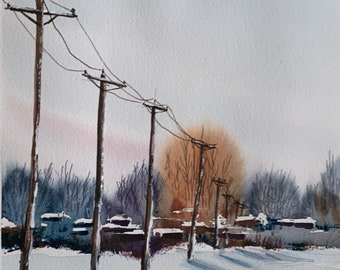 Snowy Electrical Lines (Original Watercolor Painting)