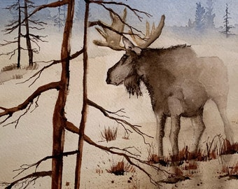Misty Moose in Winter Landscape Holderness, NH (Original Watercolor Painting)