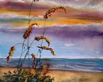 Beach Jack O'Lanterns (Original Watercolor Painting)