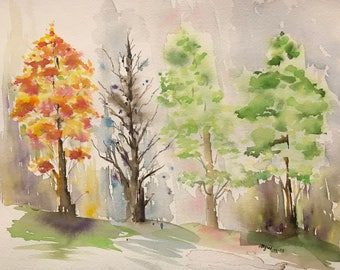 Four Seasons (Original Watercolor Painting)
