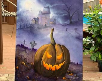 Haunted Jack O'Lantern (Original Watercolor Painting)