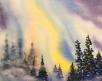 Northern Lights (Original Watercolor Painting)