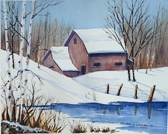 Red Barn in a Winter Landscape (Original Watercolor Painting)