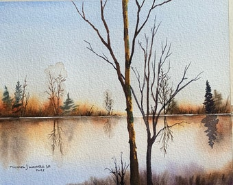 Naked Trees and Winter Creek (Original Watercolor Painting)