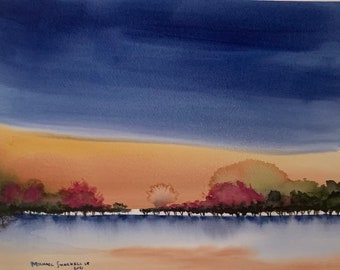 Abstract Yellow and Blue Sunset (Original Watercolor Painting)