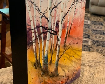 Birch Tree Painting 3D Frame (Original Watercolor Painting)