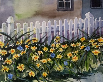 Springtime in New England (Original Watercolor Painting)