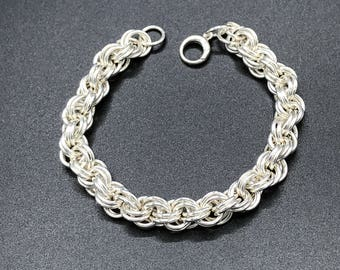Larger double spiral chain maille bracelet