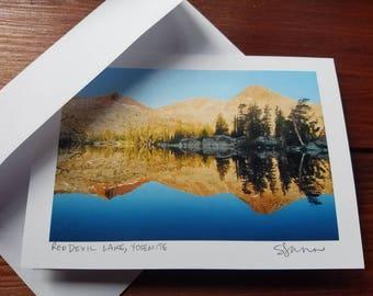 Red Devil Lake, Yosemite, blank photo greeting card