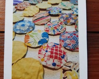 Vintage Yo-Yo Quilt, photo greeting card, blank
