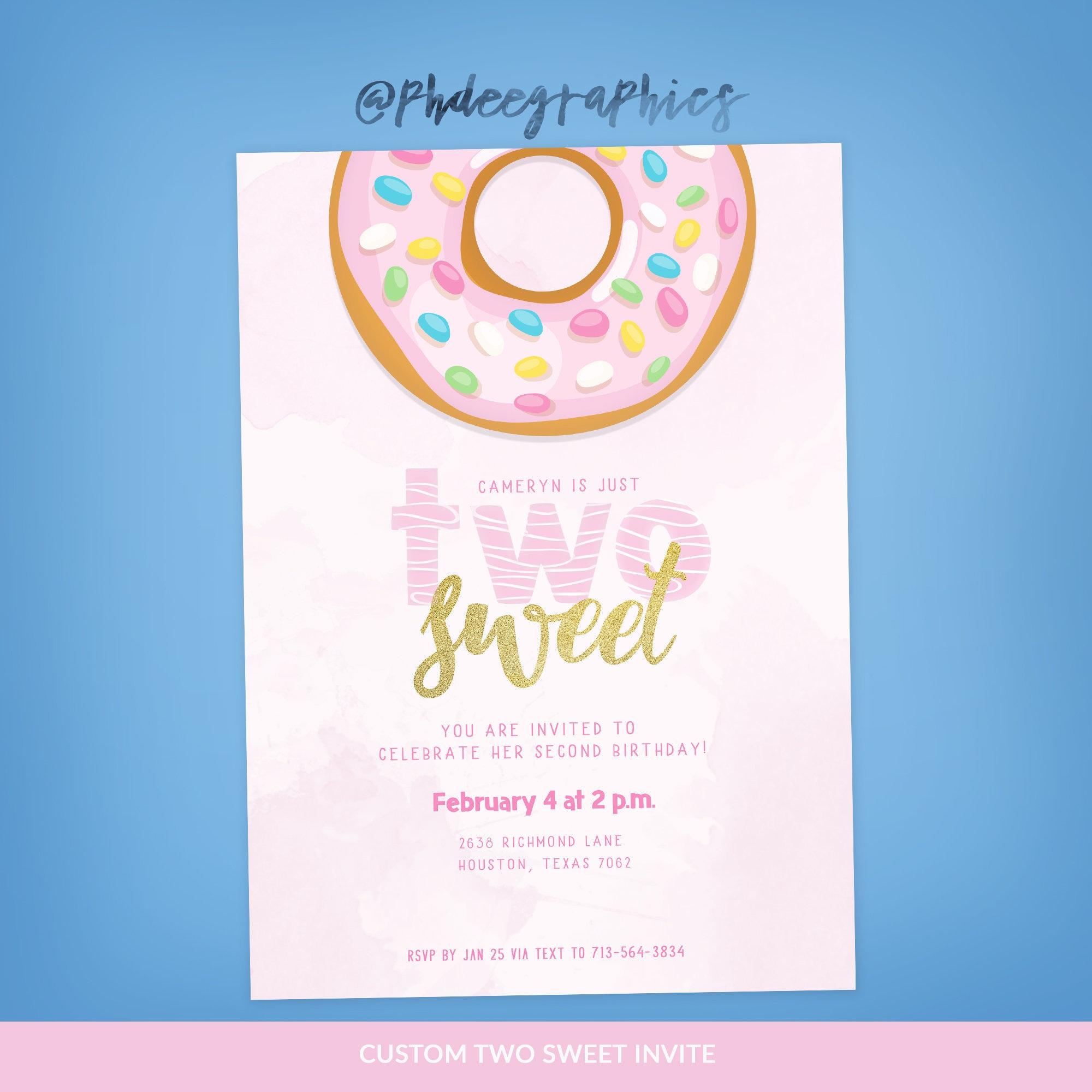 Two Sweet Invitation Donut Birthday Invite