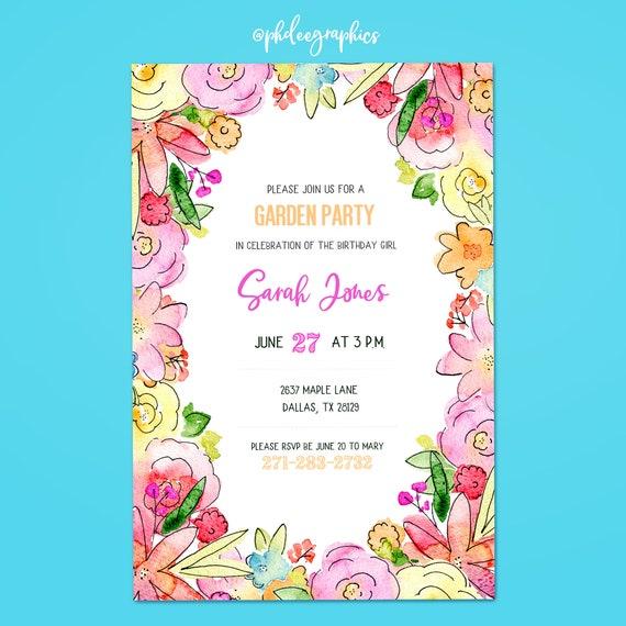 garden party invite birthday invitation dyi printable etsy