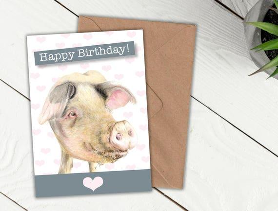Pig Birthday Card Gloucester Old Spot Card Blank Inside Etsy