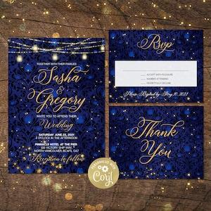 Printed Starry Night String Lights Blue Yellow Destination Couples Bridal Shower Engagement Twilight Beach #W12 Sunset Wedding Invitation