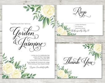 Floral Wedding Invitation, White roses wedding invitation, Wedding Invitation Floral, Greenery Wedding invite, Garden Wedding, White Wedding