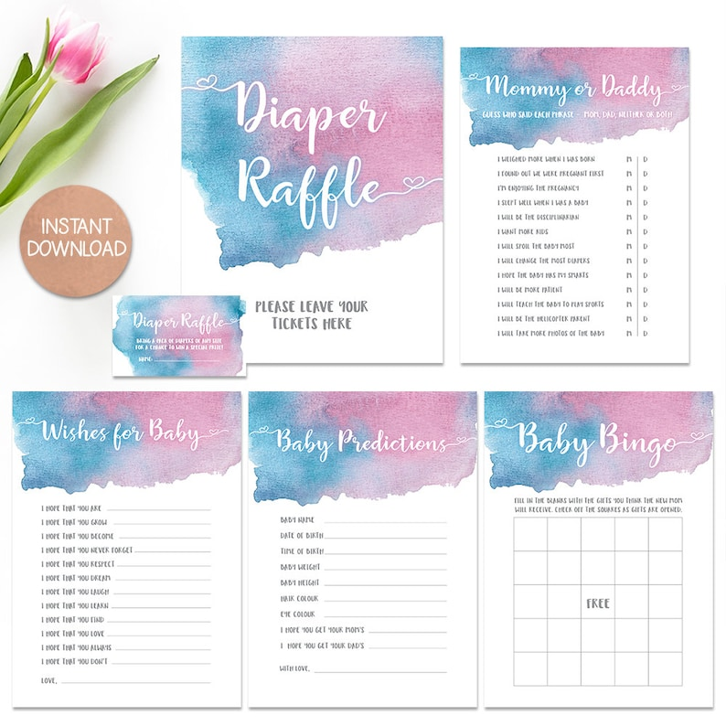 photograph regarding Gender Reveal Games Printable referred to as Little one Shower game titles Package, Gender Make clear Online games, Boy or girl Shower Trivia, Printable Shower game titles offer, downloadable game titles, gender demonstrate tips