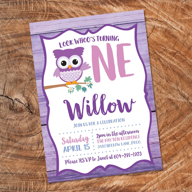 Owl Birthday Invitation Look Whoos Turning One