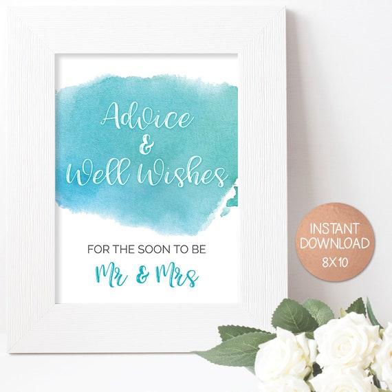 Aqua Wedding Advice Cards, Soon to be Mr Mrs, Marriage advice card, Soon to  be Mrs Sign, Well Wishes card, Advice and Wishes, Mr & Mrs Sign