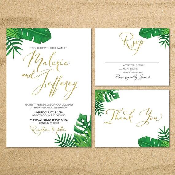Tropical Wedding Invitation Destination Wedding Invite