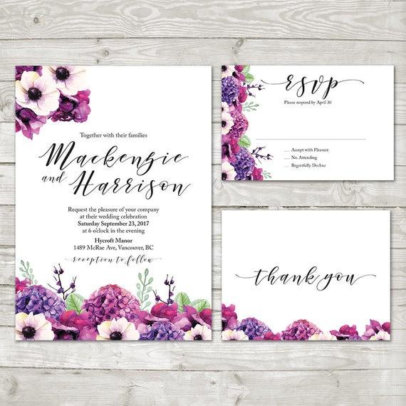Lila Hortensie Hochzeits Einladung Blumen Hochzeit Einladen Etsy