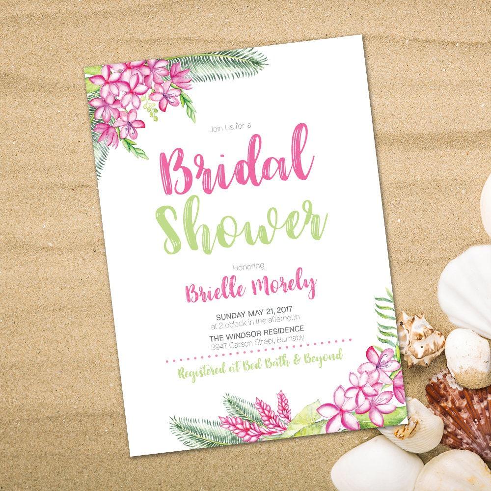 Hawaiian invitation Luau invitation Tropical Bridal | Etsy