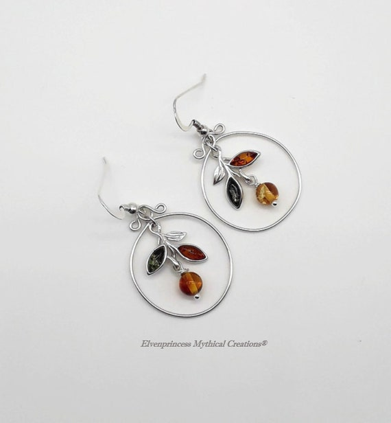 Gorgeous Baltic Amber Flowers Earrings with Silver 925