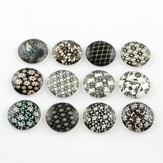10 Black /& White 12mm Printed Half Round Domed Glass Cabochons CAB1F3