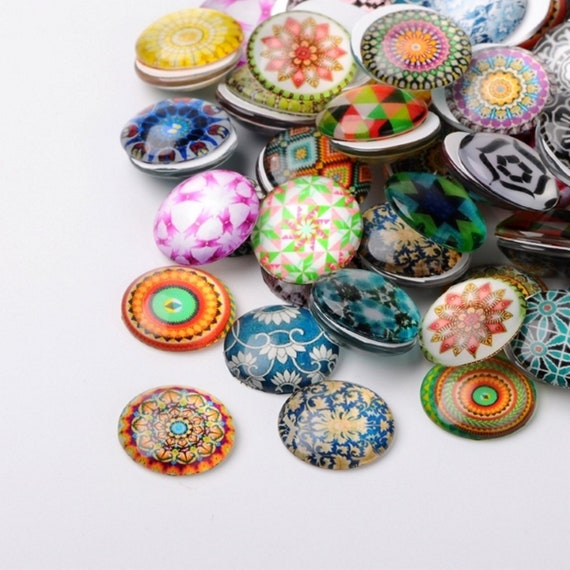10 Flower 10mm Printed Half Round Domed Glass Cabochons CAB1B1