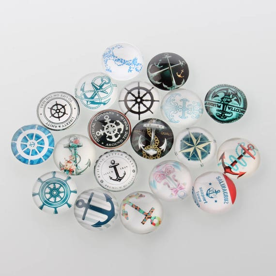 CAB1D2 10 Machine Gear Steampunk 12mm Printed Half Round Domed Glass Cabochons