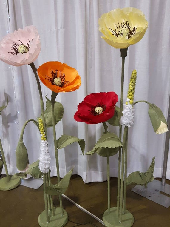Large Paper Poppy Flowers With Stem Photo Shoot Props Etsy
