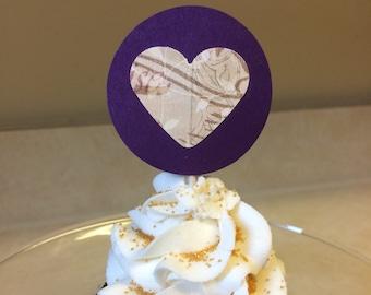 Purple Heart Cupcake Toppers, heart cupcake toppers, purple cupcake toppers, unique cupcake toppers