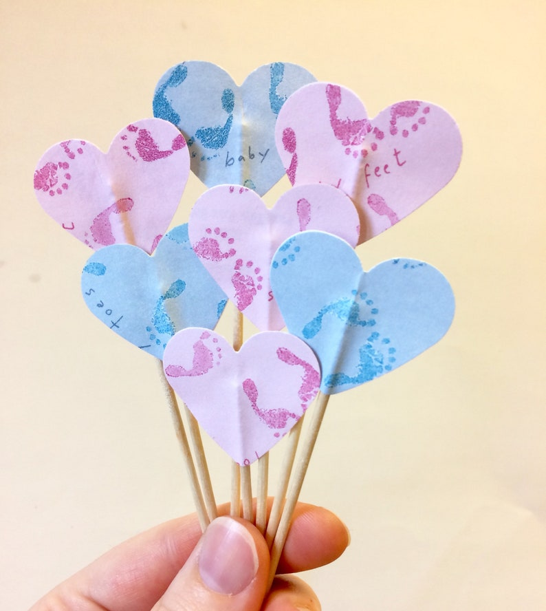 Baby Shower Cupcake Toppers Pink And Blue Cupcake Toppers Etsy