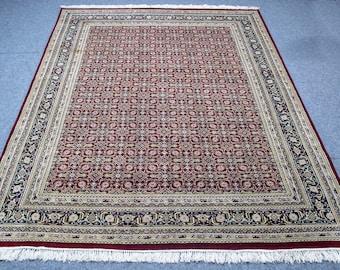 Persian Carpet 7x10 Bidjar floor rug boho carpet vintage handmade rug  Red Blue hand-knotted rug for Sale Rug Sale Boho Rug Red Blue