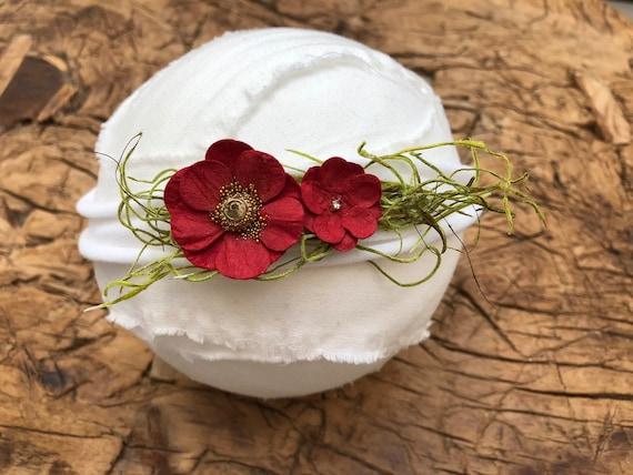 Baby Prop Newborn Photography Prop Rustic flower floral Headband DAINTY Tieback