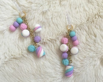 Polymer Clay Phone Charm - Pastel Kawaii French Macaron Dust Plug - Blue, Pink, Purple Roses and Marshmallow Accessory