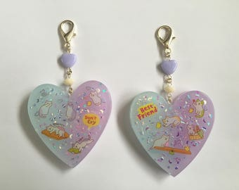 Large Kawaii Resin Heart Bag Charm - Pastel Blue and Purple Cat Charm - Don't Cry Best Friend Purse Charm