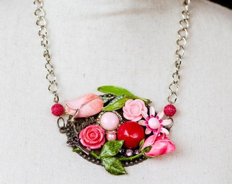 Pink flower necklace etsy neon pink flower necklace set earrings barbie necklace barbie pink silver pink roses vintage jewelry collage necklace bib necklace mightylinksfo
