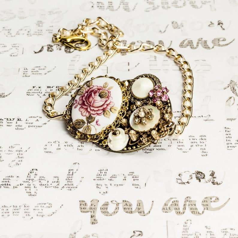 vintage jewelry Pink Rose Cameo Necklace Set earrings bib necklace, collage necklace white and gold necklace pearl rose cameo necklace