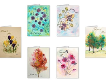 Note Cards Pack of 6, featuring Artwork by Kate Bird. Nature, Daisies, Orchid, Poppies, Trees, Crocus, Thank you Card, Just to say, Notelets