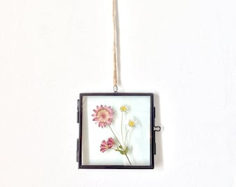 small hanging glass black pendant frame - mixed pressed flowers - botanical floral decor - gift for her - wedding, shower, mother, sister