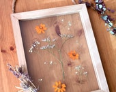 pressed flowers hanging wood frame - botanical floral decor - sea lavender - gift for her - mothers day - wedding, shower, mother, sister