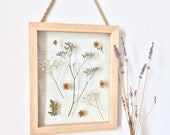 large pressed flower hanging wood frame - botanical floral decor - gift for her - wedding, shower, mother, sister