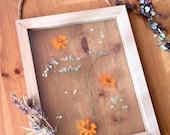 pressed flowers hanging wood frame - botanical floral decor - sea lavender - gift for her - mothers day - wedding, shower, mother, sister