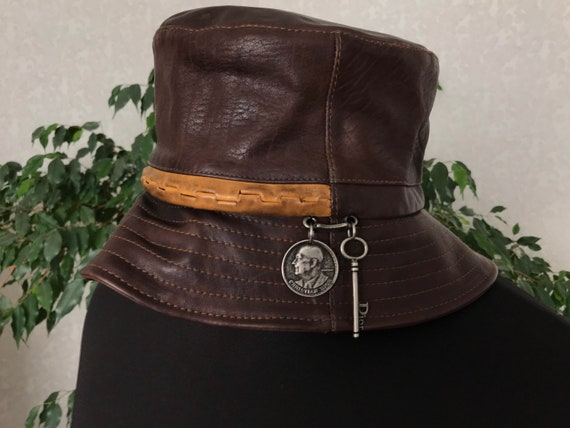 Christian Dior Boutique Hat Leather Womens Extra R