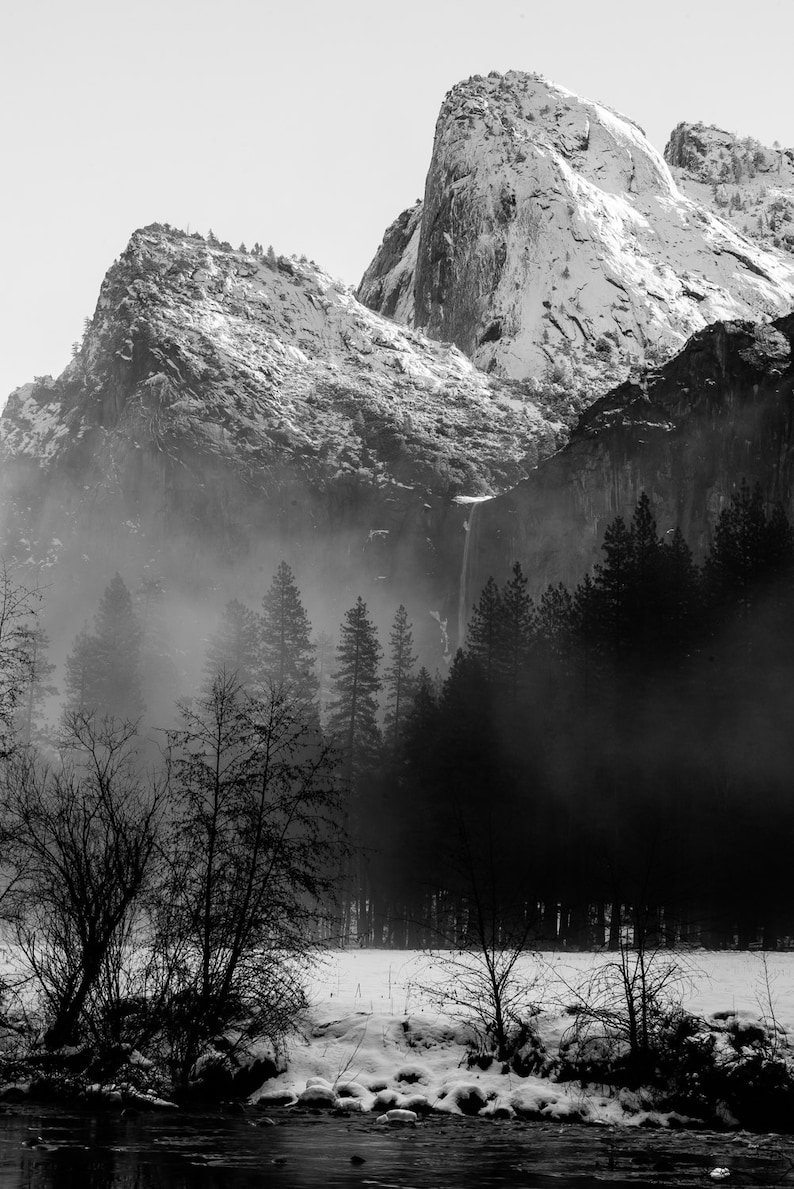 Black and white landscape photography national park fine art photography snow cathedral rocks yosemite