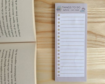 Reader's To Do List - Cute Notepad - Bookish Memo Pad - Stationery Letter Paper - To Do List - Memo Pad - Notepad - Shopping list -50 sheets