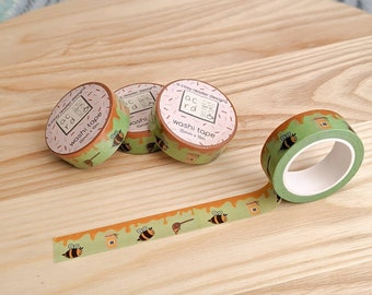 Bee Washi Tape - Planner Tape - Washi Masking Tape - Decorative Cute Washi Tape - Planner & BuJo Accessories - Cottagecore - Bumblebee