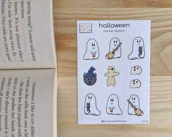 Halloween Planner Sticker Sheet - BuJo Supplies - Halloween Sticker Sheet - Ghost - Witch - Skull