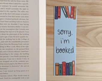 I'm Booked bookmark - Gifts for Readers - Bookworm Bookmark - Bookshelf Bookmark