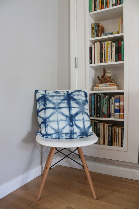 Indigo Hand Dyed Tie Dye Large Pillow Cover Pattern Home Decor